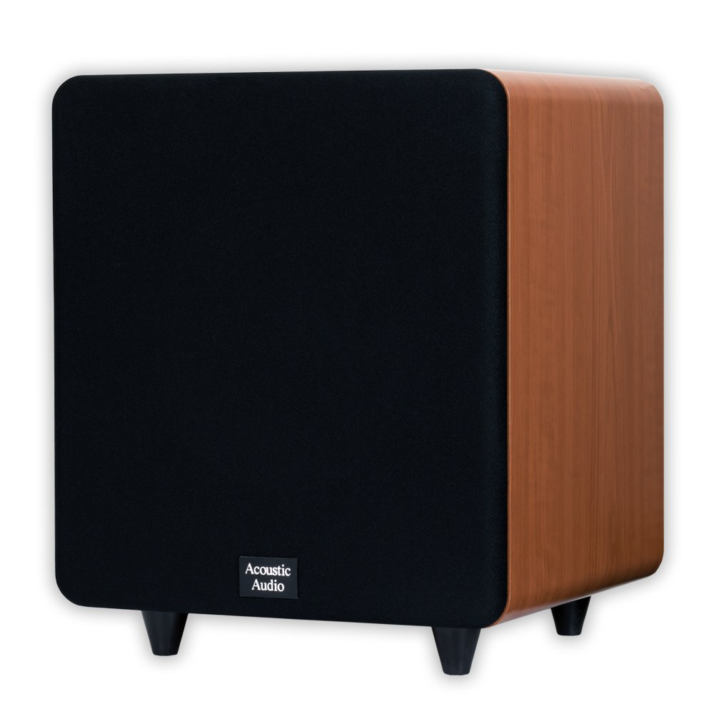 Acoustic Audio CSPS10-C Home Theater 10'' Powered Subwoofer Cherry Front Firing Sub by Acoustic Audio by Goldwood