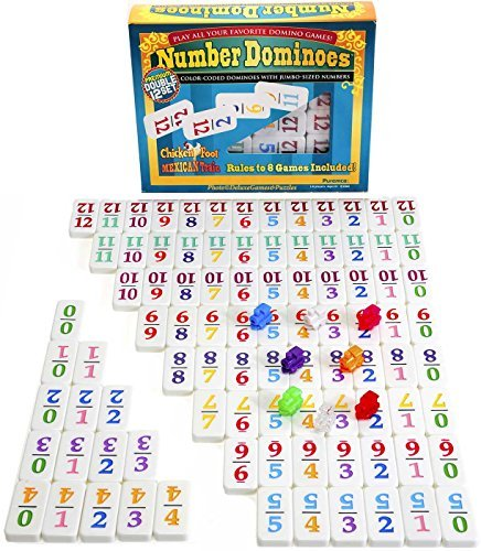 Dominoes Professional Mexican Train, Double 12 Set with Colore-Coded Numbers by Deluxe Games and Puzzles