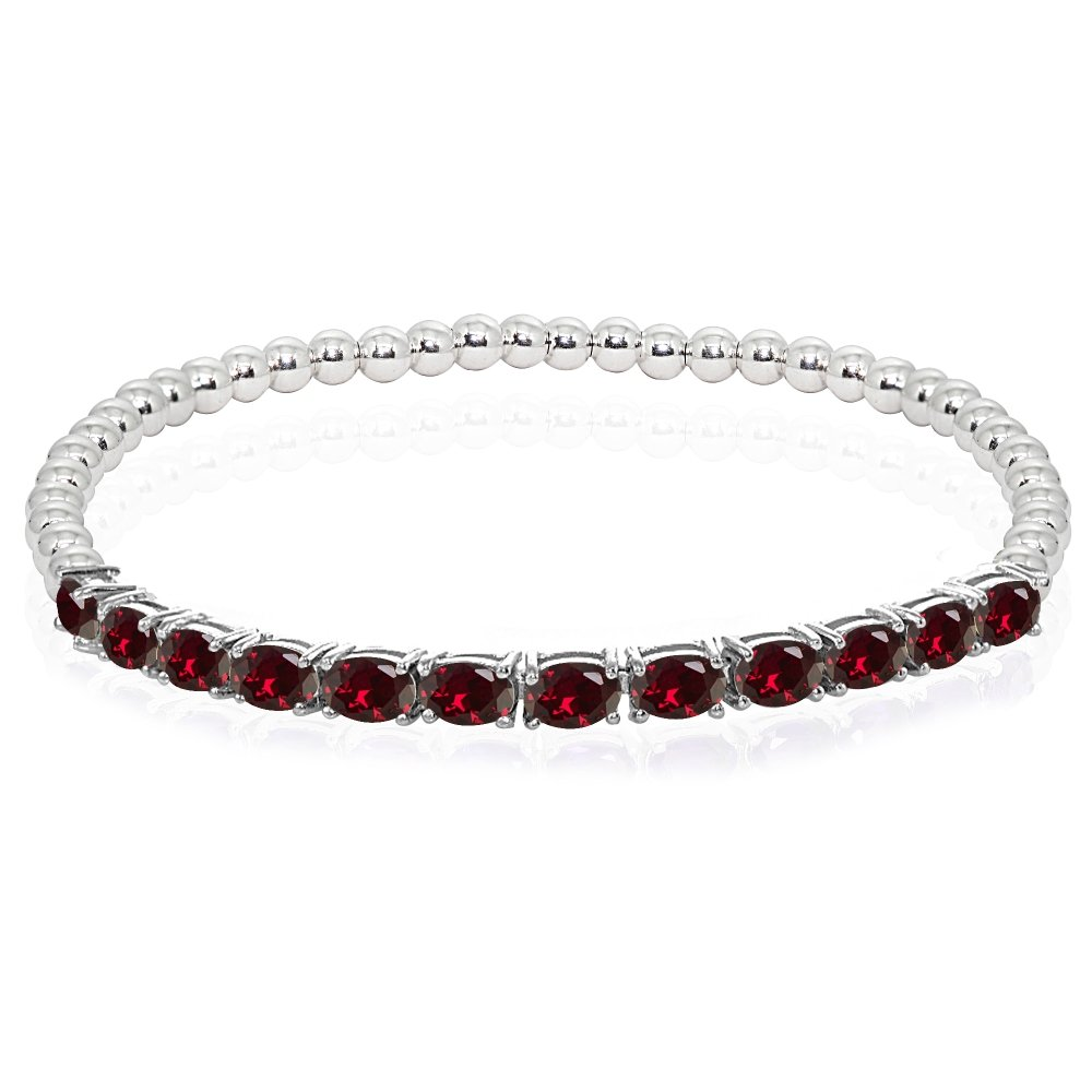 Sterling Silver Created Ruby Oval Beaded Stretch Tennis Style Bracelet