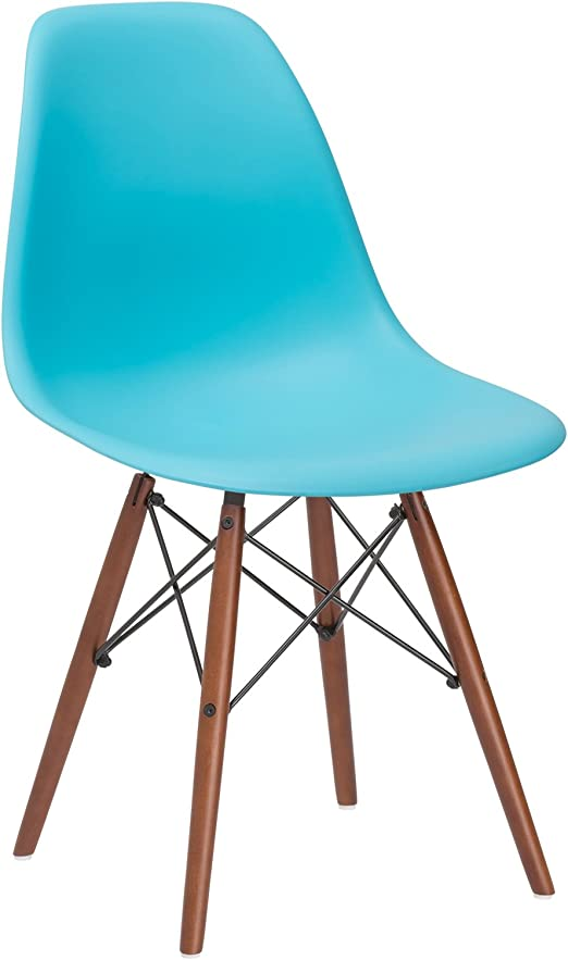 Living Room and Dining Room Aqua Poly and Bark Vortex Modern Mid-Century Side Chair with Wooden Walnut Legs for Kitchen