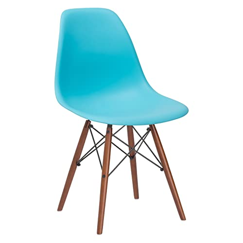 Poly and Bark Vortex Modern Mid-Century Side Chair with Wooden Walnut Legs for Kitchen, Living Room and Dining Room, Aqua Set of 2