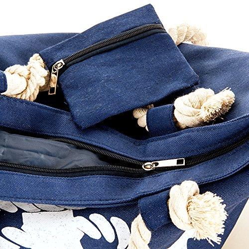 Große XL Strand Tasche mit Anker Motiv Strand Tasche Beach Bag Shopper marine Streifen maritim blau 9xVkS0PC1