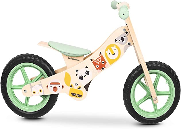 Lalaloom WILD BIKE - Bicicleta sin pedales de madera para niños de 2 años (diseño con animales, andador para bebe, correpasillos para equilibrio, sillín regulable con ruedas de goma EVA), color Verde: