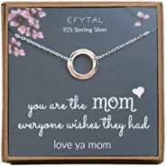 EFYTAL Mom Gifts, 925 Sterling Silver Infinity Circle Necklace for Mother, Necklaces for Women, Best Birthday Gift Ideas, Pe