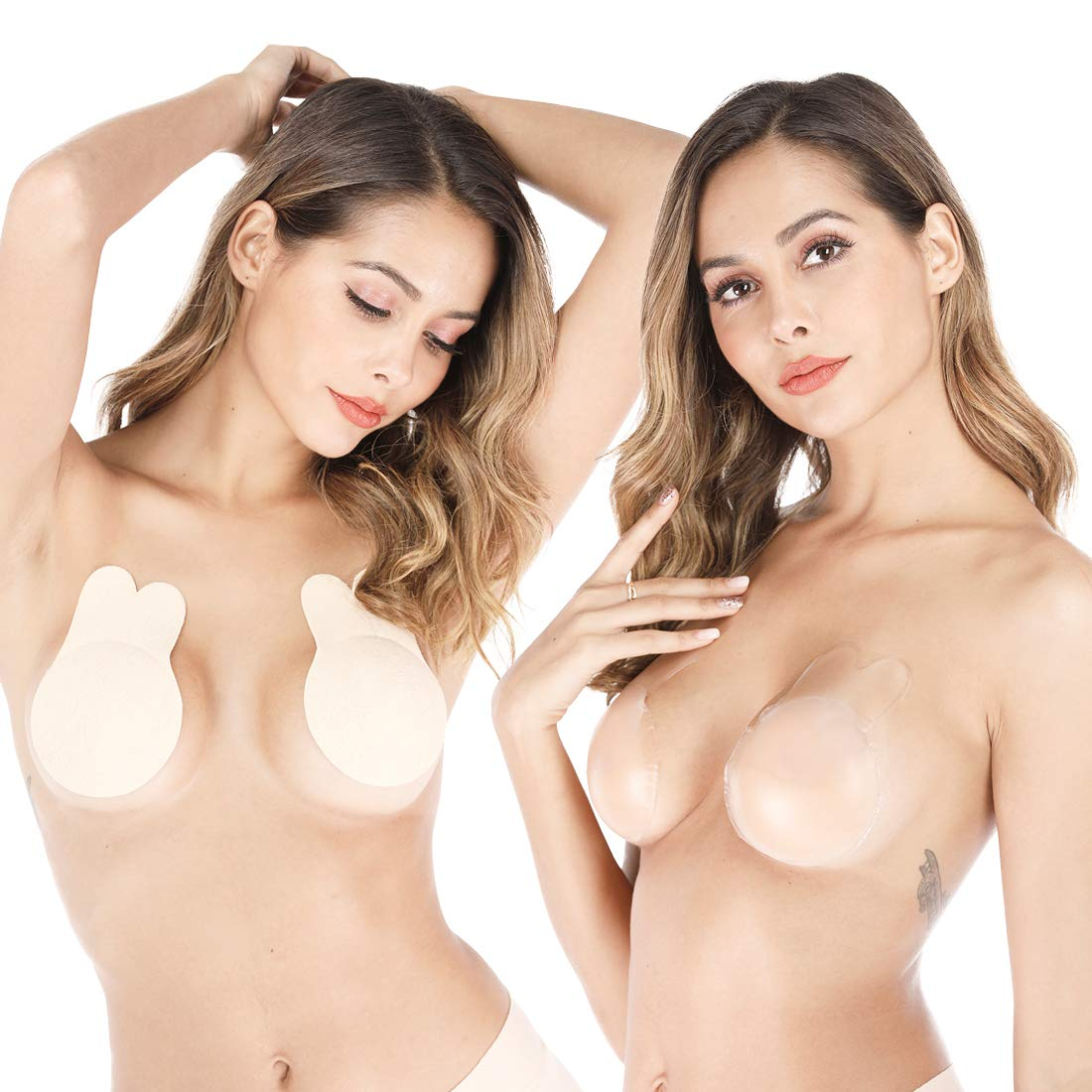 VIRONY Adhesive Bunny Bra Silicone Nipple Cover Magic Beauty Instant Bob Lift Pasties Breast Lifters for Women