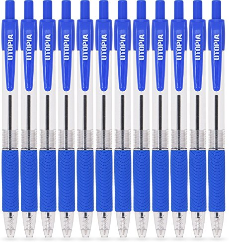Pack of 12 Premium Roller Blackish Blue -Ink Ball Pens - Retractable and Refillable - Bold Fine Point - Blackish Blue Color Ink - by Utopia Home