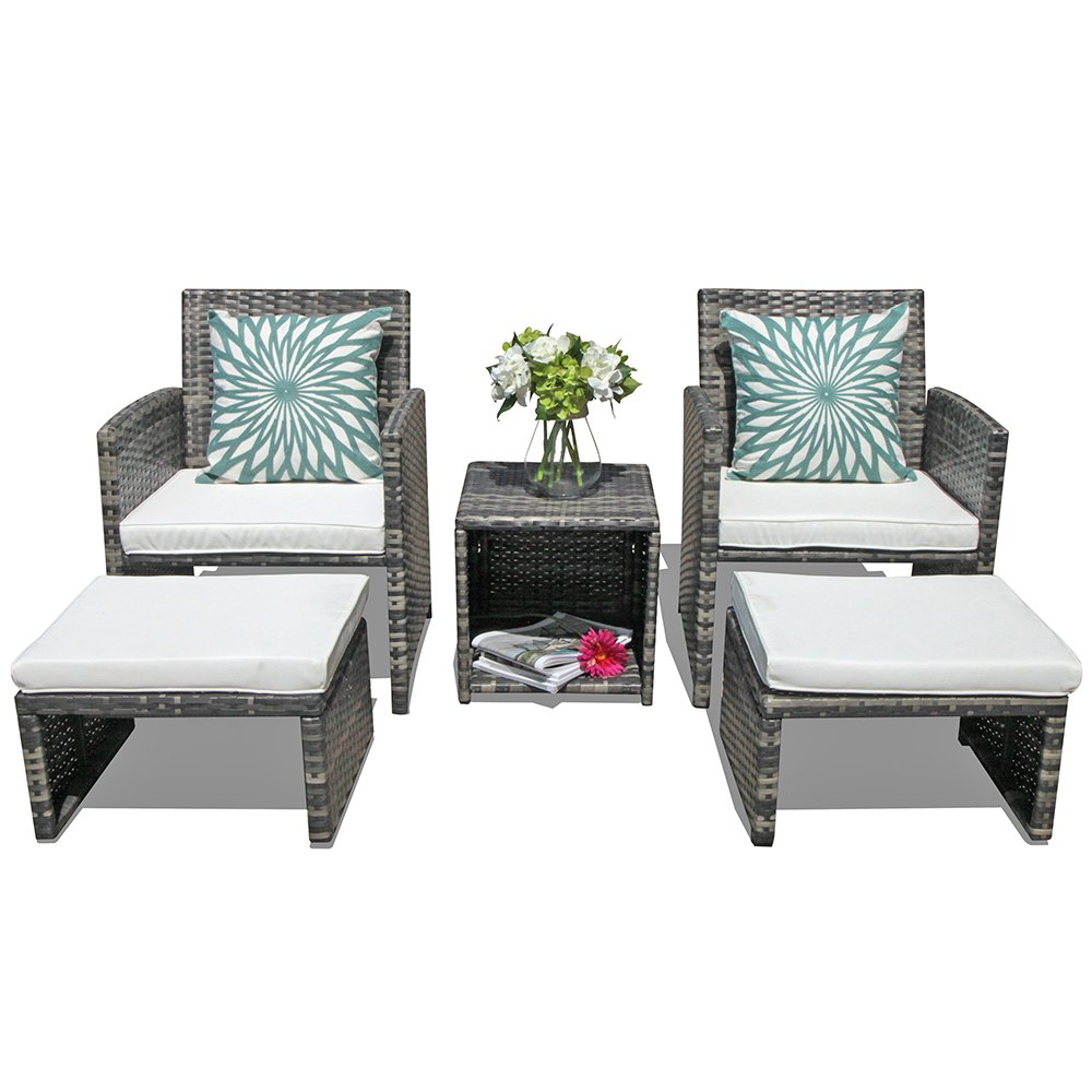 Orange Casual 5 Pcs Outdoor Patio Furniture Set All Weather Wicker Conversation Set with Ottoman & Coffee Side Table