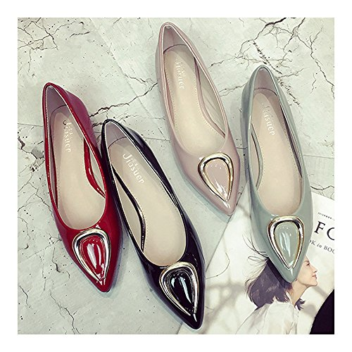 41 grey cut Women Metal Horn Ox Low Thin Shoes Pointed xIHSqz8