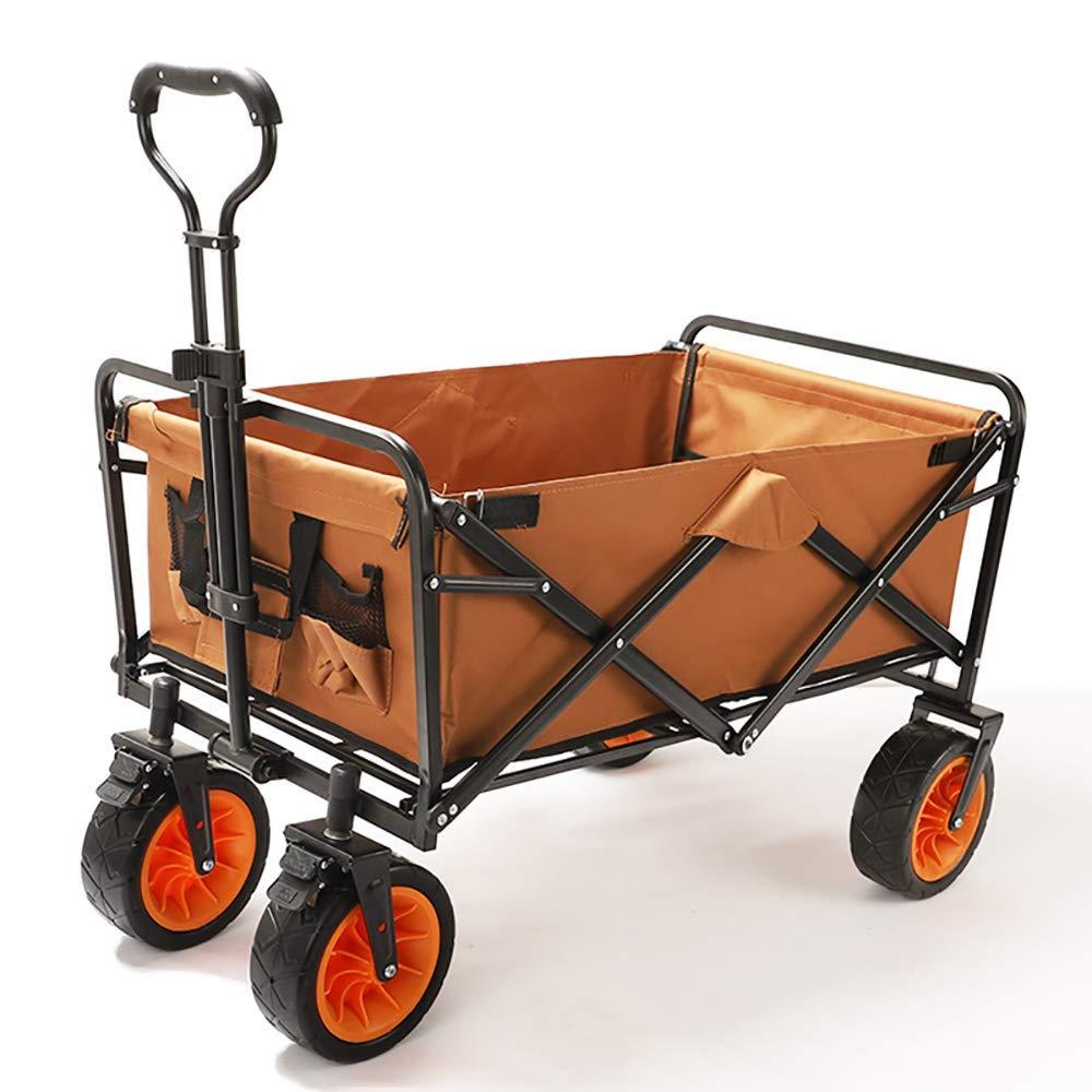 Li hand-trucks LWOO Folding Garden Cart Beach Shopping Cart/Mass Storage/Widening Tire + Brake/Load: 80 Kg/Brown (Color : Brown) by Li hand-trucks