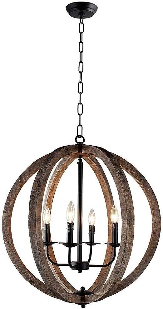 Modern Farmhouse Black 5 Light Wood Chandelier Rustic Dining Room Pendant Lighting W31.9