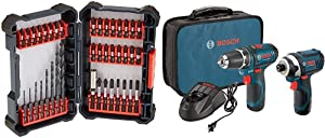 Bosch 40 Piece Impact Tough Drill Driver Custom Case System Set DDMS40 with Bosch Power Tools Combo Kit CLPK22-120 - 12-Volt Cordless Tool Set (Drill/Driver and Impact Driver)