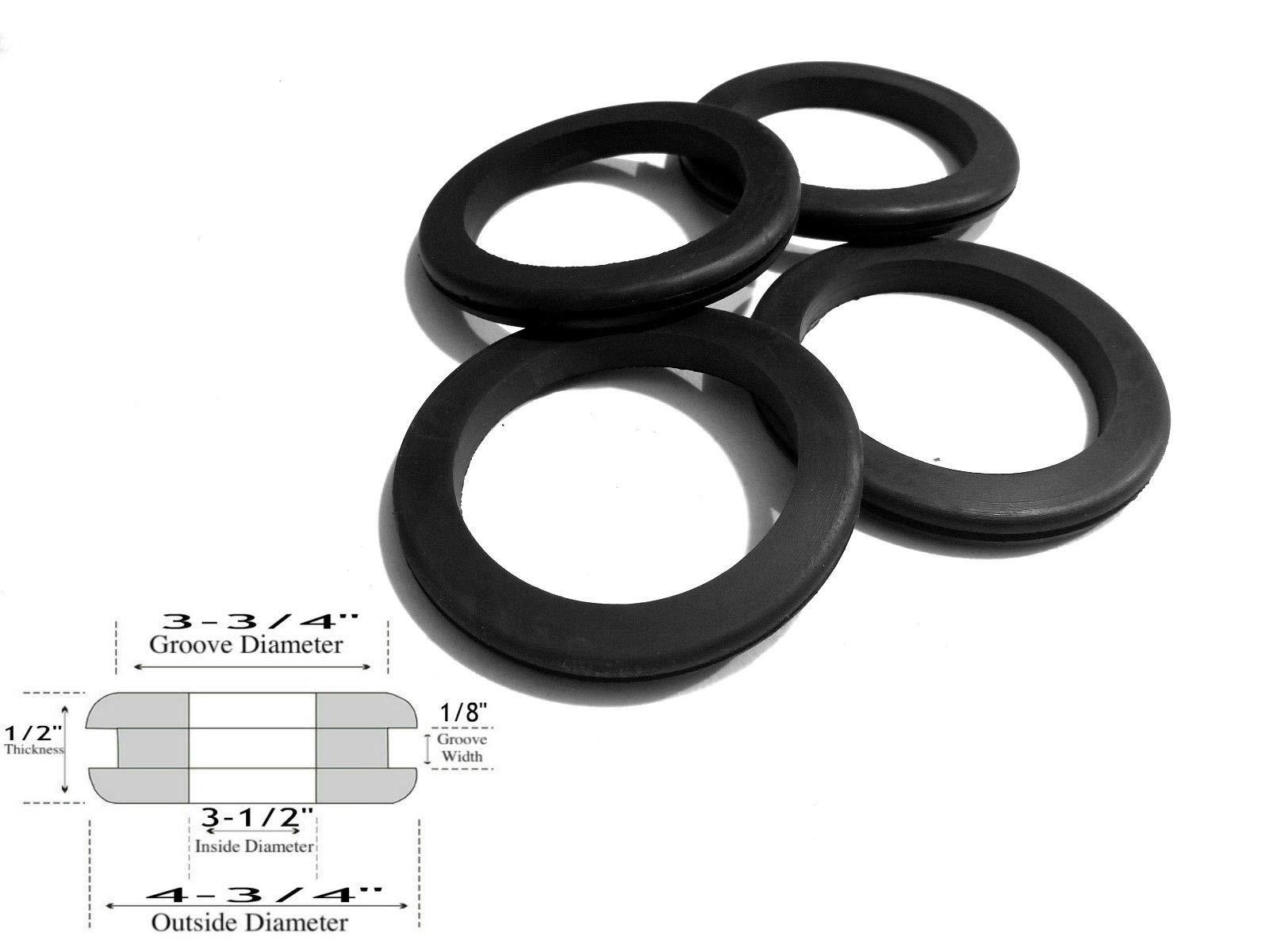 Lot of 4 Rubber Grommets: 3-1/2'' Inside Diameter - 1/8'' Groove Width - Fits 3-3/4'' Panel Hole