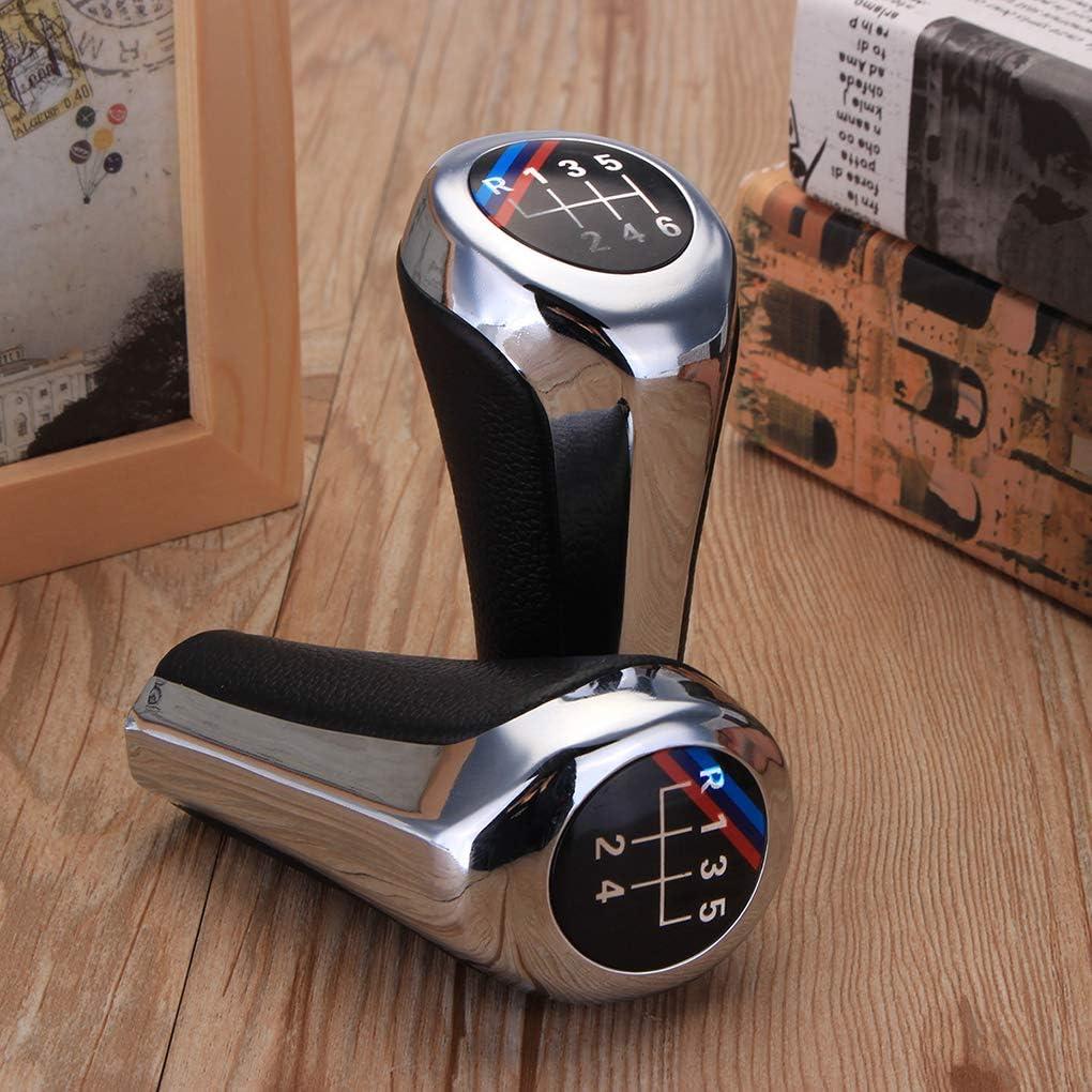 Reemplazo para BMW E63 E90 E91 E92 X1 X3 de la PU del Cuero Cromado Manual Gear Shift Knob 5 Una Velocidad