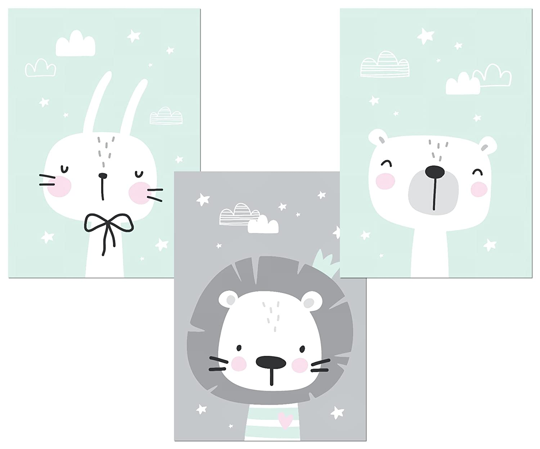 Kinderzimmer Deko Poster Set 3x Din A4 Babyzimmer Deko Bilder