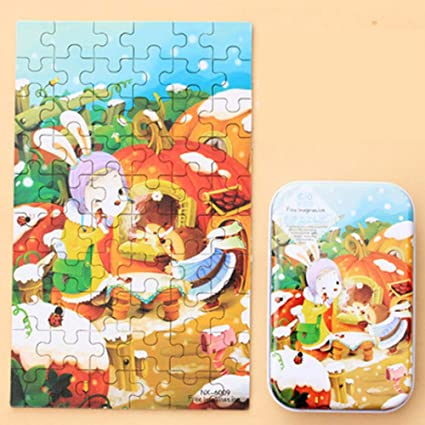 Leoie 60pcs Childrens Wooden Puzzles Baby Early Education Educational Toys Gift with Storage Box 19#