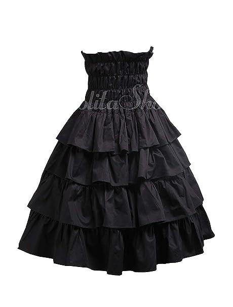 antaina Negra Alta Cintura Volantes Vintage Gotica Victoriana Punk Lolita Longitud de la Rodilla Midi Falda