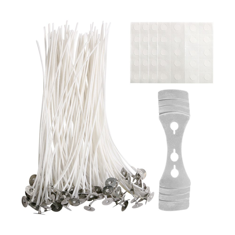 CCMART Candle Wick with Candle Wick Stickers and Candle Wick Centering Device,100 Piece Low Smoke Natura Wicks Perfect for DIY Candle Making 15CM