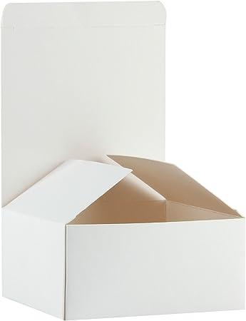 RUSPEPA Cajas De Regalo De Cartón Reciclado - Caja De Regalo Pequeña con Tapas para Manualidades, Magdalenas Y Galletas - 13X13X8 Cm - Paquete De 30 - Blanco: Amazon.es: Hogar