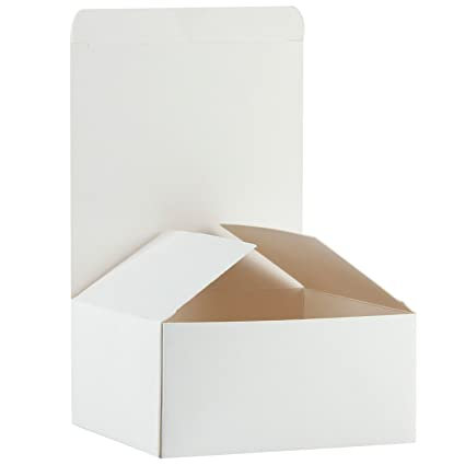 Ruspepa Recycled Cardboard Gift Boxes Small Gift Box With Lids For Craft Cupcake And Cookies 5 X5 X3 30 Pack White