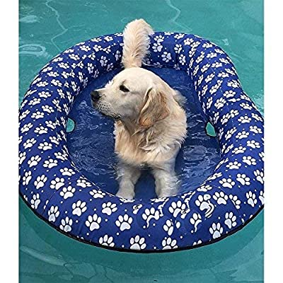 Vercico Inflatable Pool Float for Adult Dogs and Puppies, Large Contemporary Pet Dog Cat Swimming Pool Float Ride on (Blue): Toys & Games
