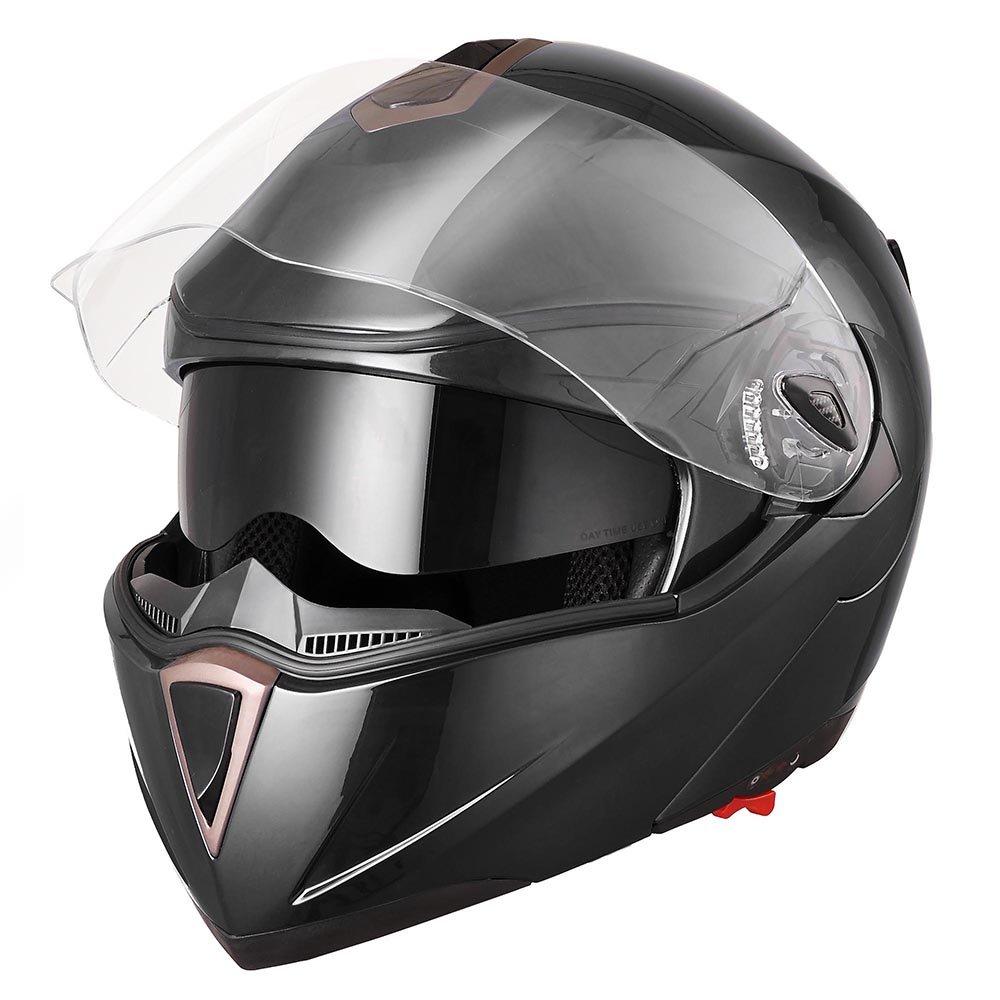 Yescom Full Face Flip up Modular Motorcycle Helmet DOT Approved Dual Visor Motocross Black M