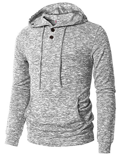 H2H Mens Long Sleeve Casual Hooded Henley Pullover Top Gray US 2XL/Asia 3XL (CMTTL089) ()