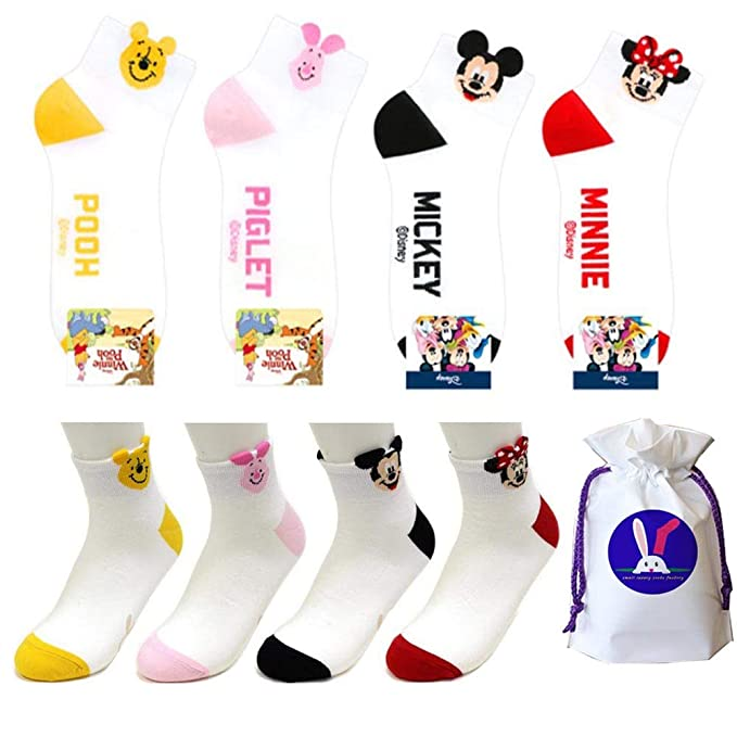 Amazon.com  Disney Character Ankle Socks with Pouch Pack of 4 pairs ... 6a340016fd