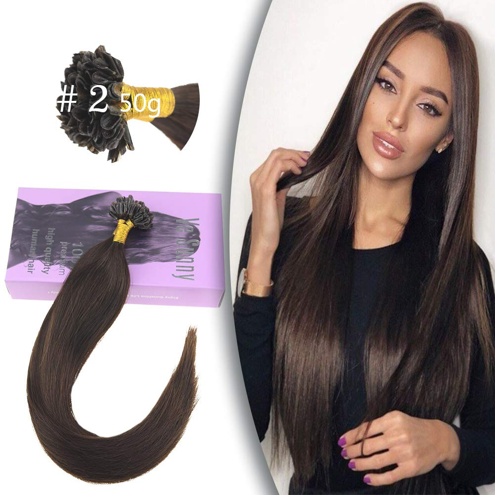 VeSunny 16inch U tip Hot Fusion Human Hair Karatin Tip Hair Extensions Human Hair(Straight,Darkest Brown #2,50g/pack) by VeSunny