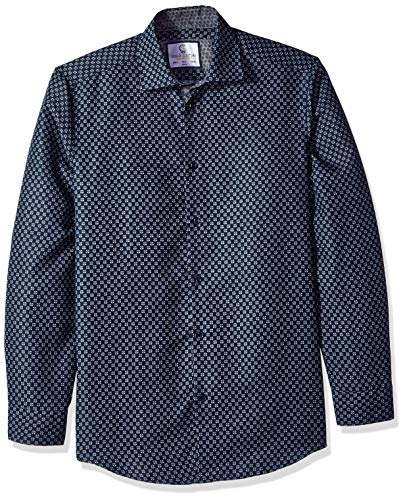 Azaro Uomo Men's Printed Dress Shirt Casual Button Down Slim Fit Gents Long, Navy-Radiant, XXL