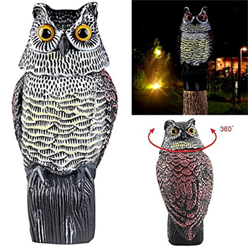 Zehui Hunting Bait Large Realistic Owl Decoy Rotating Head Weed Pest Control Crow Scarecrow