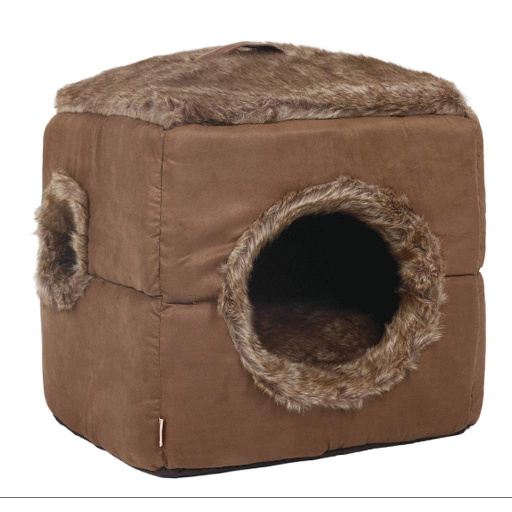 Dark marroni 34x34x34cmPet Lett Square Cat Nest Fully Enclosed Cleaning Depth calda Pet Nest Living Room Bedroom Balcony Universal Kenkel A (Colore: Dark Brown, Dimensione 34x34cm)