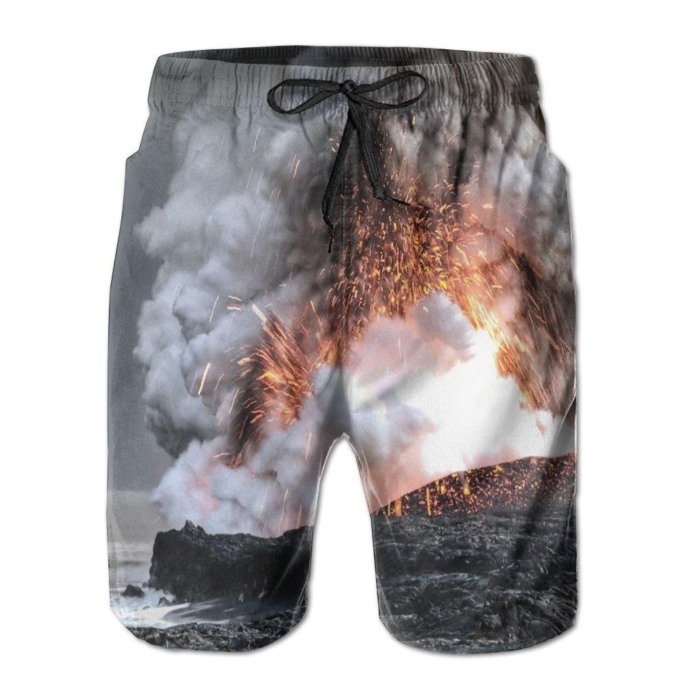 Jadetian Mauna Kea Snow Mountain Sunrise Mens Quick Dry Swim Trunk Cargo Beach Shorts