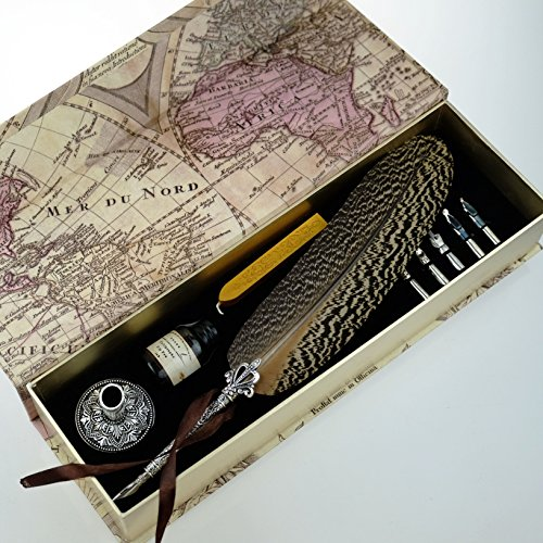 GC Quill Pen Beautiful Nuture Feather Metal Carving Pen Holder 6 Nibs Gift Set GCLL021 by GC Writing Quill (Image #1)