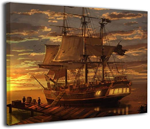 C Ancient Pirate Ship Sailing On The Art Print Home Decor Wall Art Poster