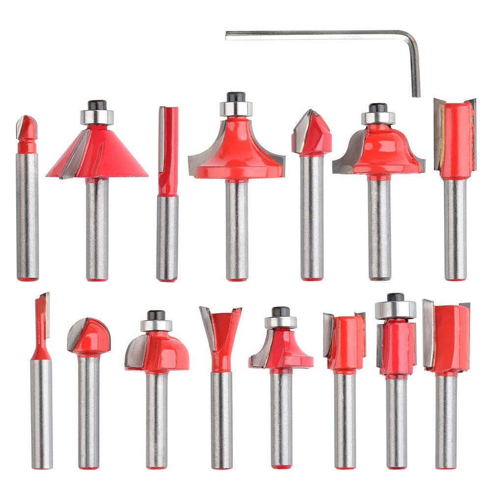 QLOUNI 15pcs Carbide Router Bit Set 1/4 Inch Shank Tungsten Woodworking Routing Drill Bits Kit with Wood Box