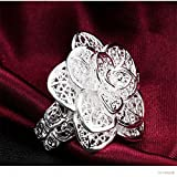 HOT Fashion Cute Silver Plated Flower Beautiful women Ring LOVE STORY (Size 8)