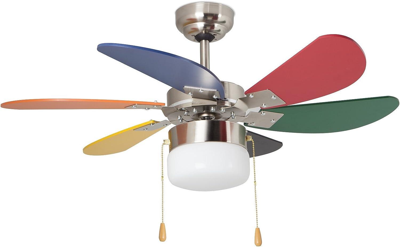 Orbegozo CC65085 Ventilador de Techo con luz, 6 Palas Multicolor, diámetro 85 cm, Potencia de 55 W y 3 velocidades