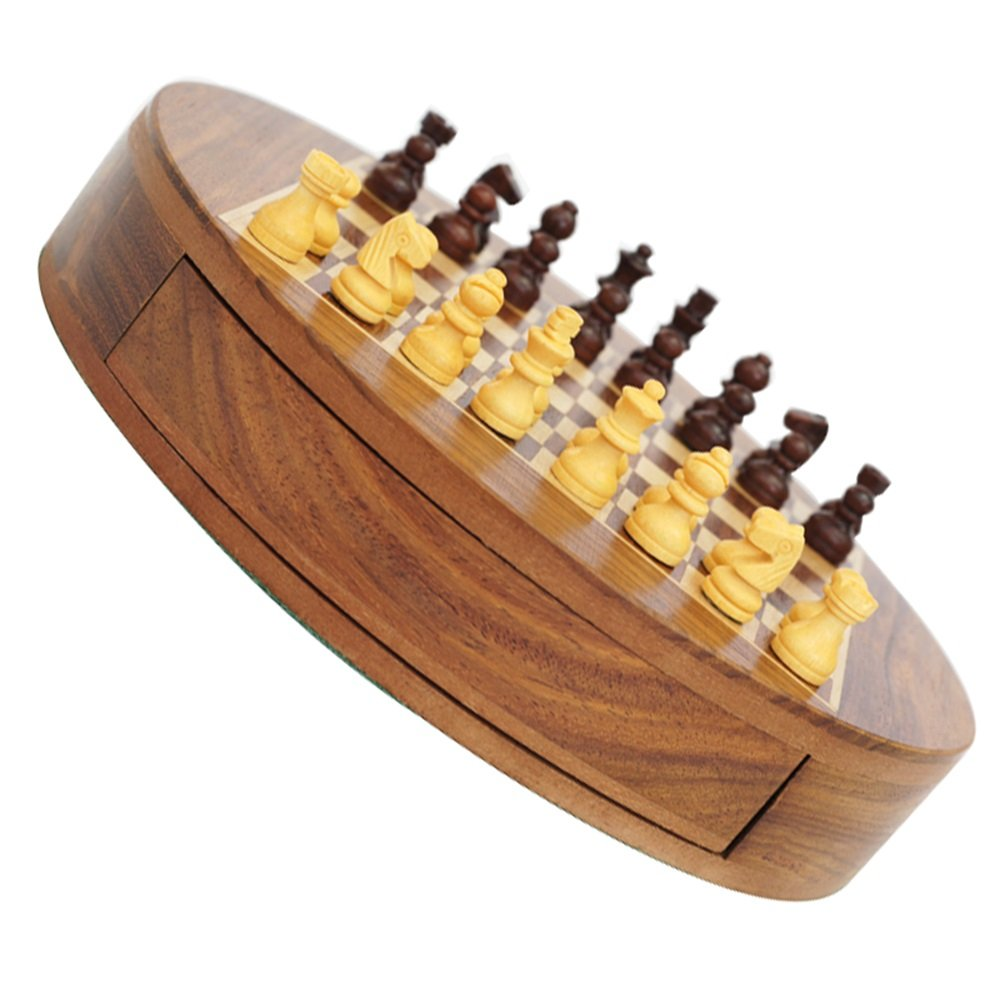 A Schach Magnetic, Kinder Trompete Holzschach, Premium Boxwood Anfänger Schach Portable (Farbe   A)