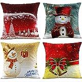 HANGOOD Soft Flannel Throw Pillow Case Cushion Covers Christmas Xmas Ball Tree Snowman Santa Set 4pcs 45cm x 45cm