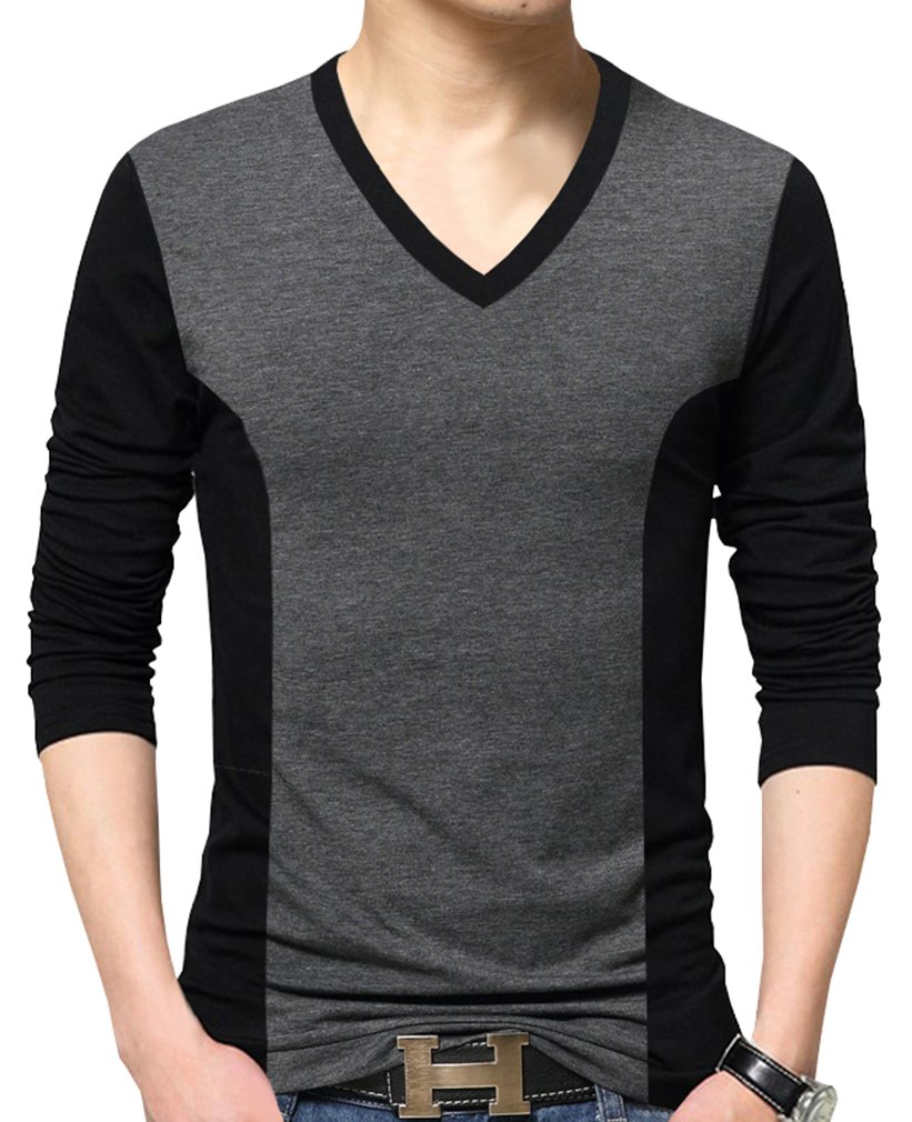 Nature Lovers Mens Long Sleeve T-Shirt Casual Tops Tee Classic Fit Basic Shirts C8702 Gray Asian 3XL/US M