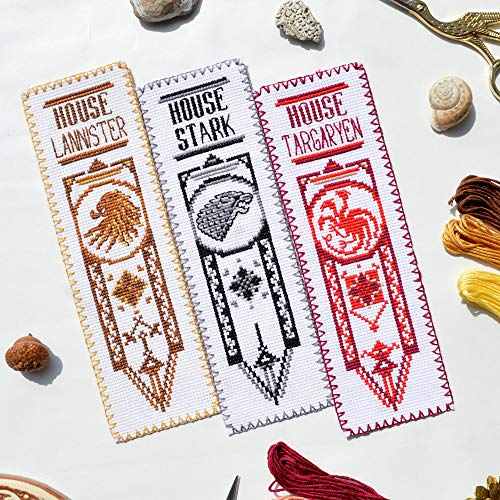 Game of Thrones Cross Stitch Kits - Set of 3 DIY Hand Embroidery Bookmarks: House Stark, Targaryen, Lannister - GoT Design Patterns