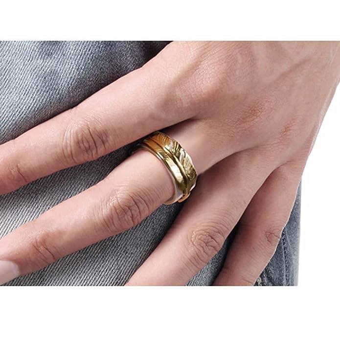 HFJ&YIE&H Anillo de plata 925 para hombre personalizado pluma dorada accesorios de discoteca tailandesa retro plata hipster dedo femenino , port number 20: ...