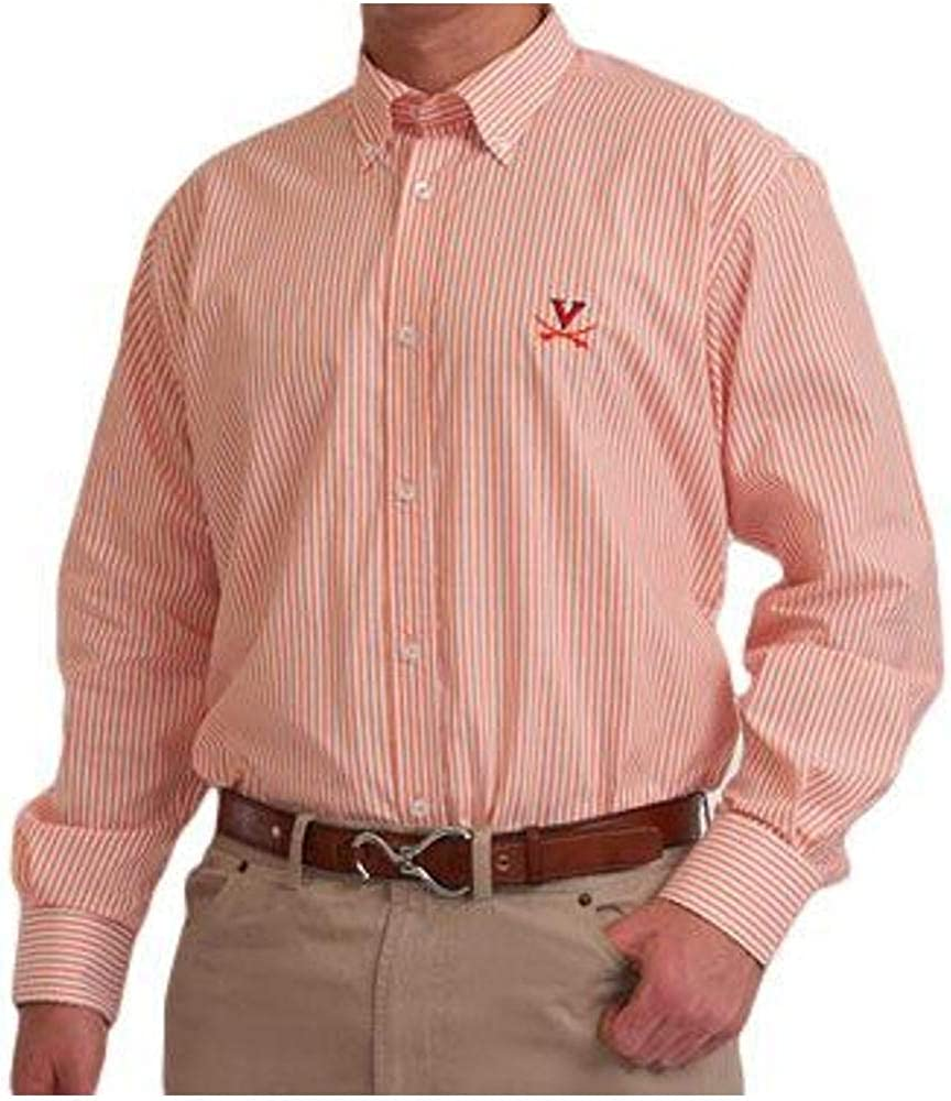 Mens Long Sleeve NCAA Collegiate Casual Button-Down Shirt | Broad Stripe with Embroidered Logo