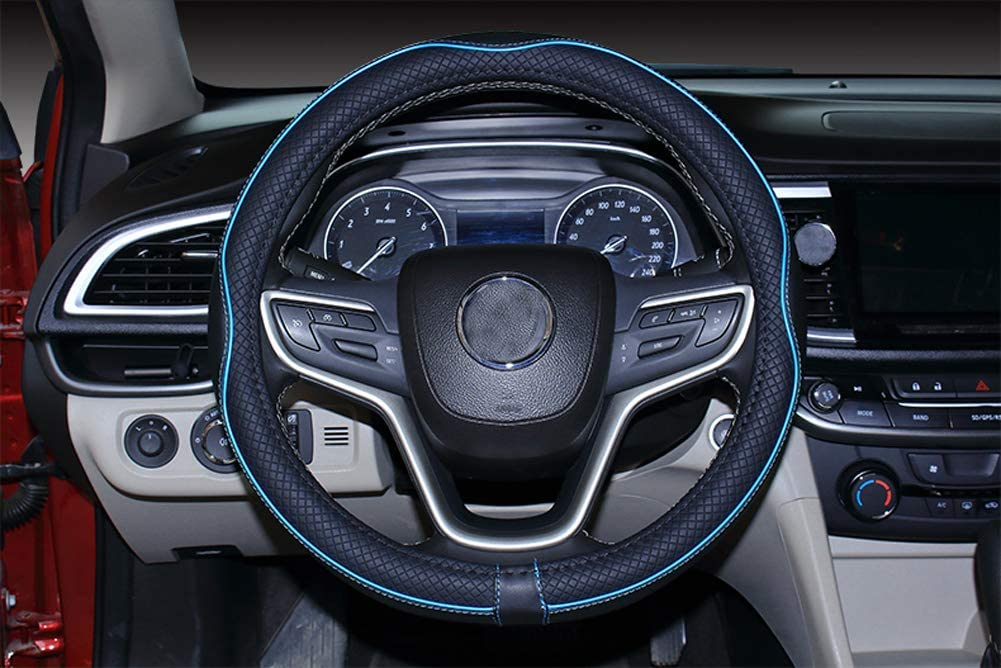 2019 New Black Blue Microfiber Leather Steering Wheel Cover for F-150 Tundra Range Rover 15.5-16