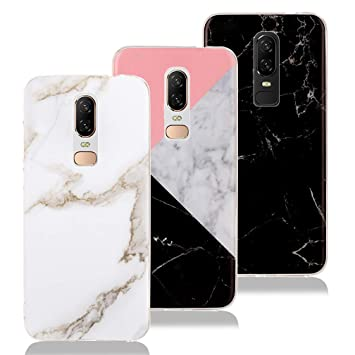 more photos 95101 10876 3 x OnePlus 6 Marble Case, XiaoXiMi TPU Silicone Soft Cover Slim-Fit  Anti-Scratch Shockproof Case [Stone Texture] Matte Marble Print Cover for  OnePlus ...