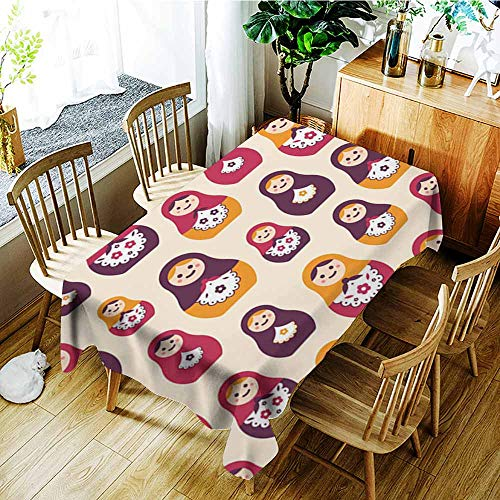 Nesting Traditional Table - Elastic tablecloth rectangular,Seamless pattern with traditional Russian folk handcrafted nesting dolls Backdrop with matryoshkas of various size ,Dinner Picnic Table Cloth Home Decoration ,W60x84L