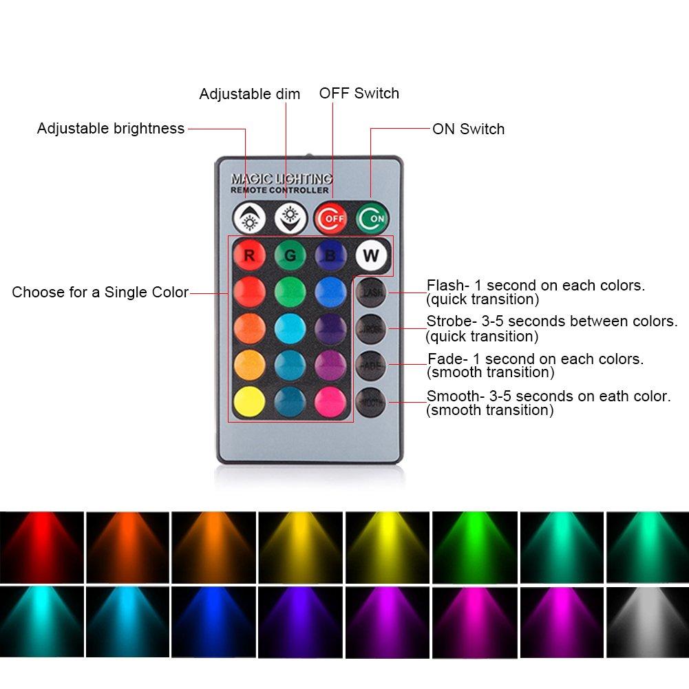 Amteker 4 lampadina Multifunzione a LED RGBW, 3W E26 / E27 - Comprende il Telecomando con 16 Cambi di Colore - Grande per Palcoscenico, Partito, Produzione e ovunque nella casa (Confezione da 4)