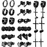 ONESING 15 Pairs Black Stud Earrings for Men Stainless Steel Stud Earrings Set