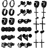 ONESING 15-18 Pairs Earrings for Men Black Stud Earrings Mens Earrings Stainless Steel Stud Earrings Set for Men Women…