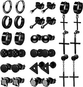 ONESING 15-18 Pairs Earrings for Men Black Stud Earrings Mens Earrings Stainless Steel Stud Earrings Set for Men Women Jewelry Piercing Hoop Earrings